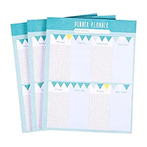 3 Pack Magnetic Weekly Meal Planner - Paper Pad Meal Prepping Planning Tear Off Sheets - Each Pack Contains 52 Sheets, 7.5 x 9.5 Inches