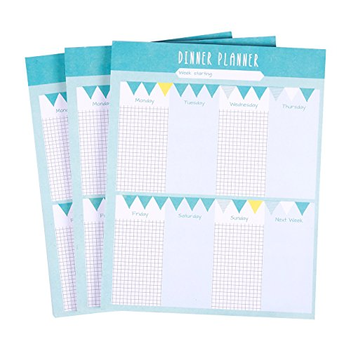 3 Pack Magnetic Weekly Meal Planner - Paper Pad Meal Prepping Planning Tear off Sheets - Each Pack Contains 52 Sheets, 7.5 x 9.5 (Planner Magnetic Grid)