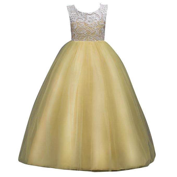 Vestido Largo Encaje Tul Boda Tutu Elegante de Flores para Niña Vestido de Gala Princesa Fiestas