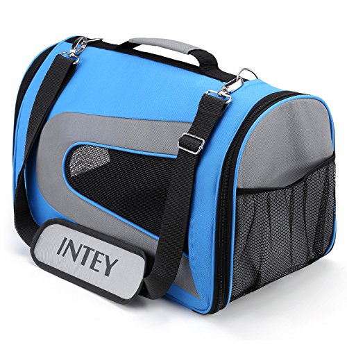 INTEY Pet Carrier, Travel Bag for Dogs and Cats, Airline Approved Pet Carrier, Portable Package, Blue