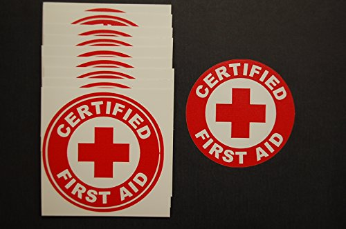 Certified First Aid Circle Stickers (10 Pack!!) 2'' Decal CPR AED Hard Hat Window Helmet (492X10) … by Five Star Graphics