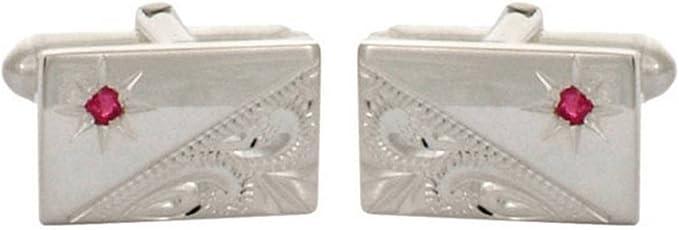 David Van Hagen Mens Sterling Silver Ruby Set Cufflinks