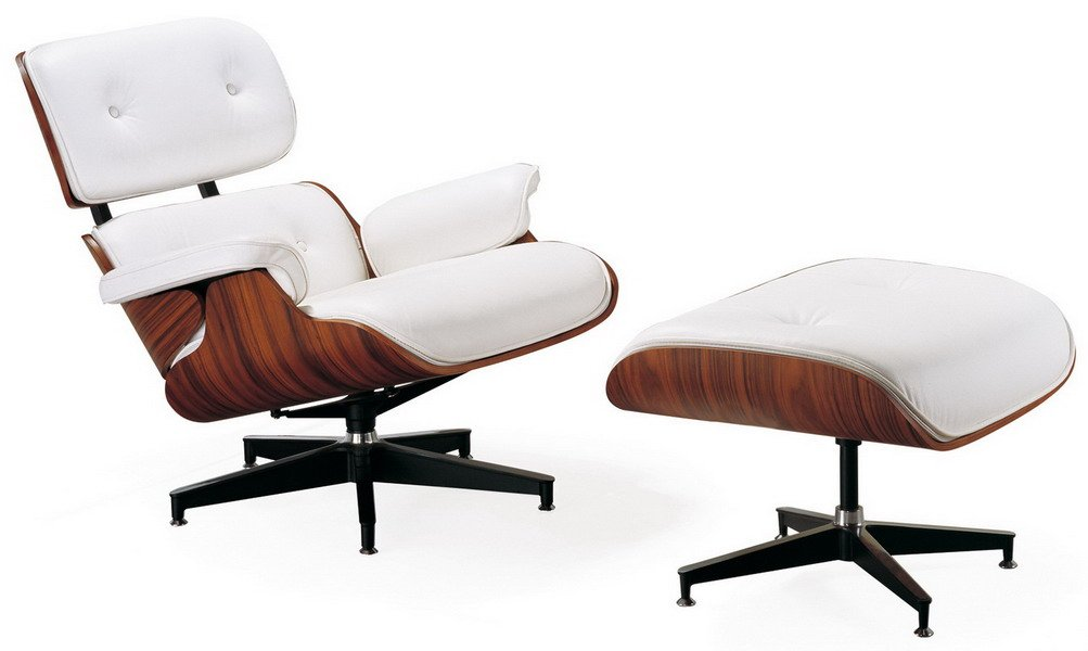 Amazon.com: Mid Century Modern Classic Rosewood Plywood Lounge Chair U0026  Ottoman With White Premium Top Grain Leather Eames Style Replica: Kitchen U0026  Dining