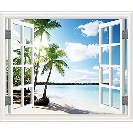 ZLJTYN 100X120Cm Customizable Self Adhesive Waterproof Windows Large Size Fake Window Stickers Pastoral Scenery Decorative Paintings 3D Stereoscopic Wall StickersCoconut Palm Seaside
