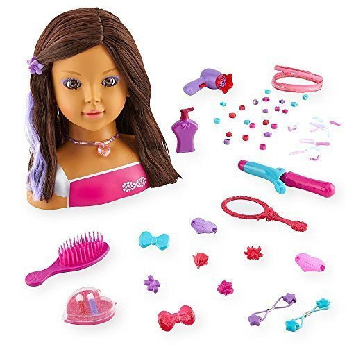Dream Dazzlers Color Dazzle Styling Head - Brunette Makeup Doll Head