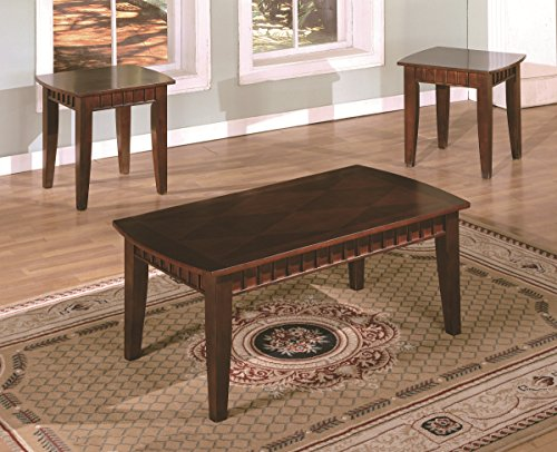 National Office Furniture Cherry Desk (American Furniture Classics Three piece Coffee and End Tables Set with Detailed Dentil Molding Accents, Cherry Veneer)