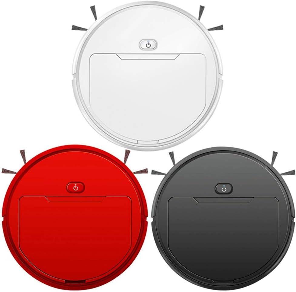 QBCNM Multifonctionnel Intelligent Vide, Intelligent Robot, Robot Nettoyeur, Balayage Vadrouille, Automatique 3-In-1Recharge Aspirateur, Microfibre Mop, pour Tout étage,Blanc White