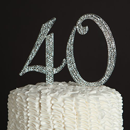 40-Cake-Topper-for-40th-Birthday-or-Anniversary-Party-Supplies-Silver-Decoration-Ideas