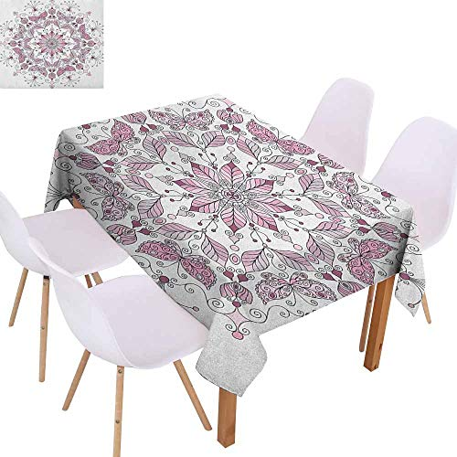 Fabric Dust-Proof Table Cover Purple Mandala Lacy Pastel Floral with Butterfly and Lotus Figures Meditation Design Washable Tablecloth W40 xL60 White Pale - Charm Butterfly Lacy