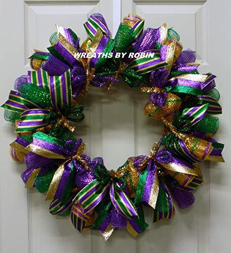 Mardi Gras, Fat Tuesday Wreaths, Carnival Wreaths, Mardi Gras Décor (2583-1)