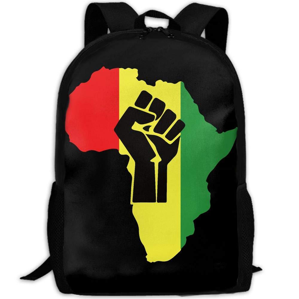 OIlXKV Black Power Fist Pictures Print Custom Casual School Bag Backpack Multipurpose Travel Daypack For Adult