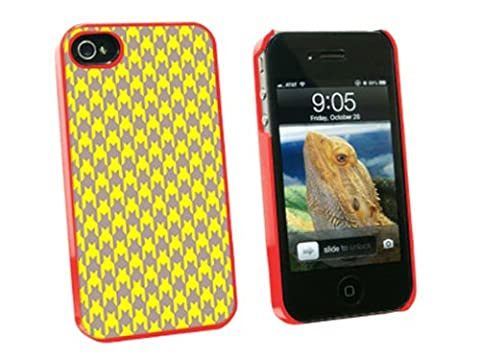 Graphics and More Preppy Houndstooth Yellow Gray Snap-On Hard Protective Case for Apple iPhone 4/4S - Non-Retail Packaging - (Iphone 4 Case Preppy)