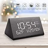 Digital Alarm Clock, Adjustable Brightness Voice Control Desk Wooden Alarm Clock, Large Display