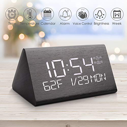 Warmhoming 2019 Updated Wooden Digital Alarm Clock with 7 Levels Adjustable Brightness, Display Time Date Week Temperature for Bedroom Office Home