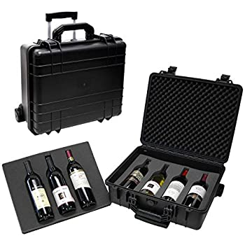 Image of T.Z. Case International T.z 7-Bottle Wheeled Wine Case, Molded Polypropylene, Black