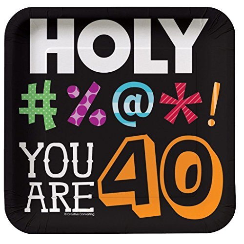 Holy Bleep Youre How Old 40th Birthday 7-inch Plates (2-Pack: 16 Plates) -
