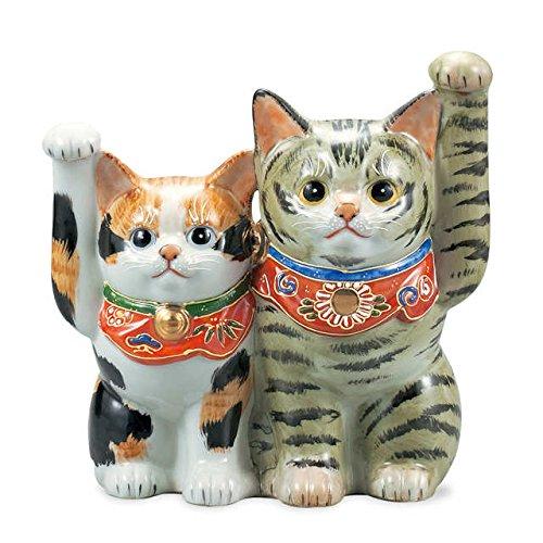 "Japanese drawn Ceramic Porcelain kutani ware. Fortune cat. Lucky cat. Beckoning cat. Tortoiseshell."" Japanese ceramic Hagiyakiya 1417"