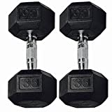 Ziyud Set of 2 Hex Rubber Dumbbell with Metal Handles, Pair of 2 Heavy Dumbbells Choose Weight (5lb, 10lb, 15lb, 20 Lb, 25lb, 30lb, 35lb, 40lb, 50lb, 75lb, 100lb) (40 Lb) For Sale