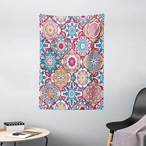 """Ambesonne Moroccan Tapestry, Colorful Bohemian Pattern in Pastel Colors with Abstract Flowers Ornate, Wall Hanging for Bedroom Living Room Dorm Decor, 40"""" X 60"""", Coral Green"""