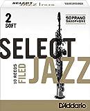 Rico Select Jazz Soprano Sax Reeds, Filed, Strength 2 Strength Soft, 10-pack