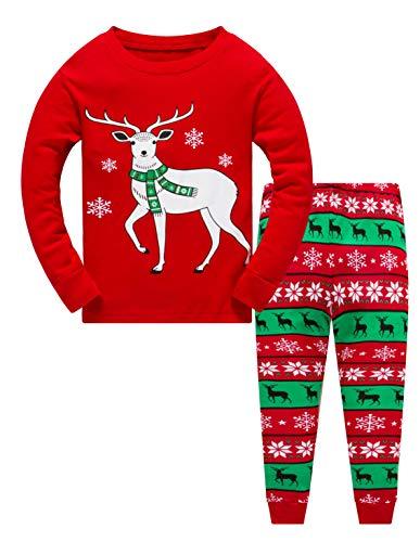 Christmas Pajamas Little Boys Girls 100% Cotton Reindeer Shirt Pjs Set Toddler Sleepwear 2 Piece Outfit -