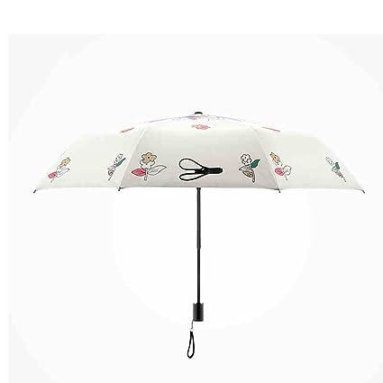 Paraguas impreso de la niña de fibra de carbono plegable sol paraguas sol paraguas protector solar