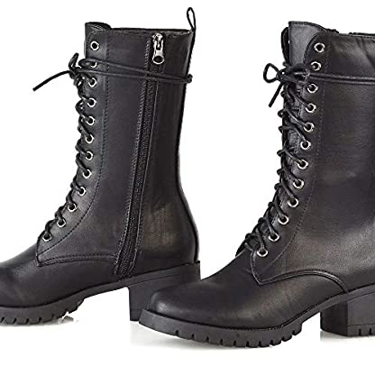 ESSEX GLAM Womens Lace Up Mid Calf Chunky Block Low Heel Boots Ladies Grip Sole Platform Combat Shoes 2