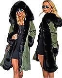 Roiii Frauen-Winter warme starke Kunstpelzmantel Kapuze Parka Long Jacket Größe 44-54 (42/44, Armeegrün001)