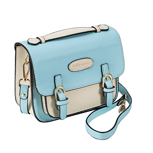 Mini 9 Instant Camera Accessories Case – Lalonovo Retro Vintage PU Leather Bag for Fujifilm Instax Mini 9/ Mini 8/ Mini 25/ Mini 50s/ Mini 90/ Mini 9 Instant Film Camera with Shoulder Strap (Blue)