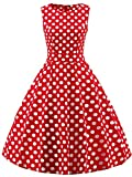 FAIRY COUPLE 50s Vintage Retro Floral Cocktail Swing Party Dress with Bow DRT017(S, Red White Dots)