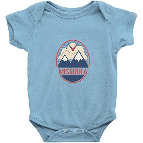 - Missoula, Montana Mountain and Bird - Unisex Infant Baby Onesie/Bodysuit (Light Blue, 24M)