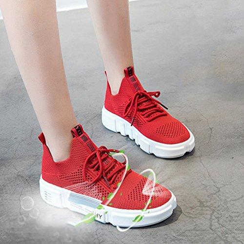 LFEU de Mujer Deportes de Zapatillas Exterior Rojo arqg6a