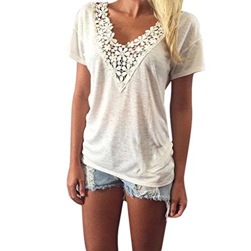 Kimloog Women t-Shirts, Deep V-Neck Lace Appliques Patchwork Summer Short Sleeve Blouse (M, White)
