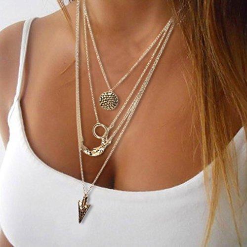 XILALU Women Multilayer Irregular Crystal Gold Pendant Chain Statement Necklace (Freshwater Pearl Swirl)