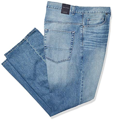 (Nautica Men's Big and Tall 5 Pocket Relaxed Fit Stretch Jean, Hook Line Blue 48W 32L)