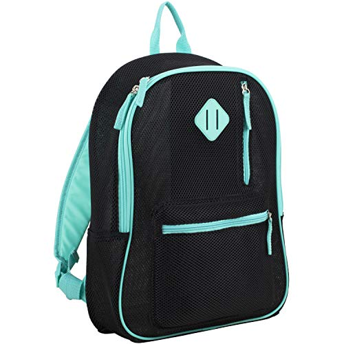 Eastsport Active Semi Transparent Soft Comfortable Mesh Backpack, Black/Turquoise