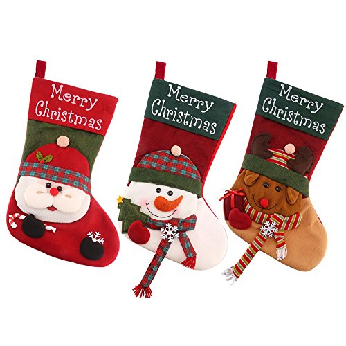 DECORA 18 Inch Plush Christmas Stockings Felt Snowman Santa Reindeer Xmas Stockings for Christmas Decoration ()