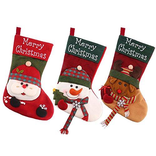 Plush Large Christmas Stocking (DECORA 18 Inch Plush Christmas Stockings Felt Snowman Santa Reindeer Xmas Stockings for Christmas Decoration)