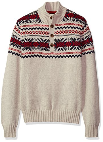 Button Mock Sweater - IZOD Men's Saltwater Button Mock Neck Sweater, Edifice Heaher, X-Large