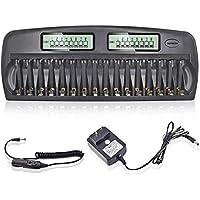 Carregador de bateria de 16 baias para baterias AA AAA Ni-MH / Ni-CD com função de atualização Carregador de bateria…