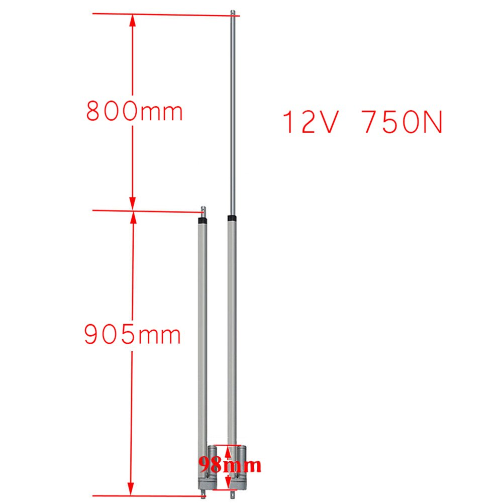 Newsmarts 24 inch Linear Actuator 24 Stroke DC 12V Heavy Duty 750N//165 lbs Maximum Lift Without Mounting Brackets