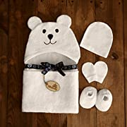 Bimboly Extra Soft Baby Bamboo & Cotton Hooded Towel + Bonus Bath Set | Antibacterial and Hypoallergenic | Keeps Baby Dry and Warm | Sized for Infant and Toddler | Baby shower Gift | Ivory