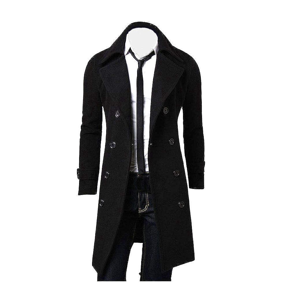 1d7adddcf73a3 Rambling New Men's Winter Trench Coat Quality Stylish Gentlemen Long Pea Coat  Overcoat at Amazon Men's Clothing store: