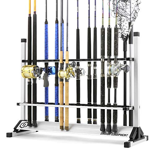 Savior Equipment Aluminum Fishing Rod Rack Holder Fish Pole Storage Ground Display Stand Organizer - Lightweight Design, Vertical Slot, Available to Hold 24 to 48 Rods