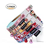 Touchcat Printed Nylon Breakaway Cat Collar with Safety Belt 8-12 Inches 5PCS