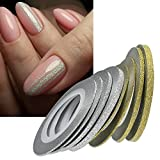 6 Rolls Nail Art Glitter Gold Silver Stripping Tape Line Strips Decor Tools 1mm2mm3mm Nail Sticker DIY Beauty Accessories