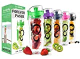 Live Infinitely 32 oz. Infuser Water Bottles - Featuring a Full Length Infusion Rod, Flip Top Lid, Dual Hand Grips & Recipe Ebook Gift (Green, 32 oz)