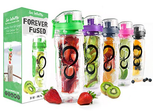(Live Infinitely 32 oz. Infuser Water Bottles - Featuring a Full Length Infusion Rod, Flip Top Lid, Dual Hand Grips & Recipe Ebook Gift (Green, 32 oz))
