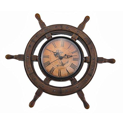 Resin Antique Ships Wheel (Home&Decor Wheel Nautical Wall Clock.)