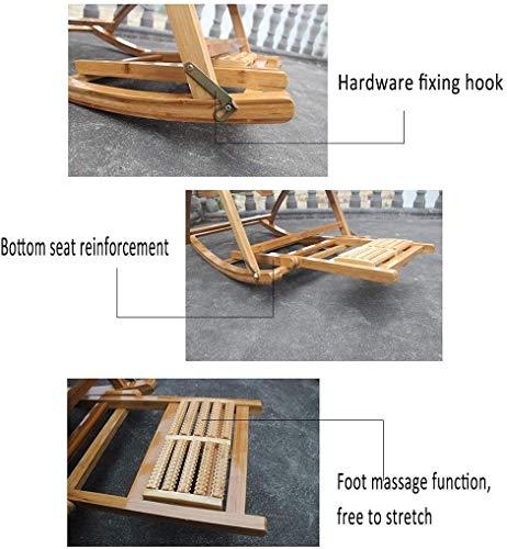 RECLINING SUN LOUNGER Bambu gungstol, trädgårdsfällbar vilstol, med fotmassage, fåtölj för äldre, justerbar utomhusterrass xiuyun